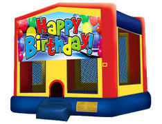 Yellow, Red & Blue Bounce House - Happy Birthday
