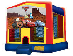 Yellow, Red & Blue Bounce House - Cars