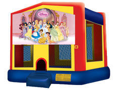 Yellow, Red & Blue Bounce House - Princesses