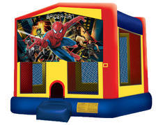 Yellow, Red & Blue Bounce House - Spiderman