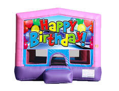 Pink & Purple Bounce House - Happy Birthday