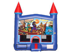 Blue & Red Castle Bounce House - Pirates
