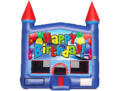 Blue & Red Castle Bounce House - Happy Birthday