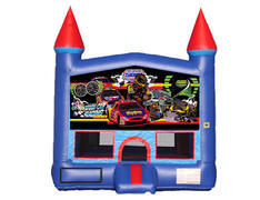 Blue & Red Castle Bounce House - Race Cars