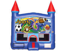 Blue & Red Castle Bounce House - Sports