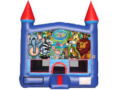 Blue & Red Castle Bounce House - Wild Kingdom