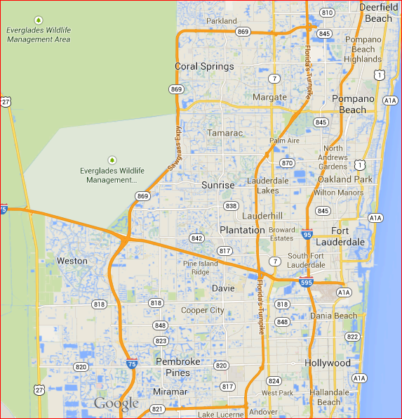Broward Party Rentals Delivery Map