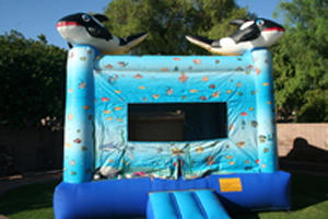 Orca on top of the bounce house