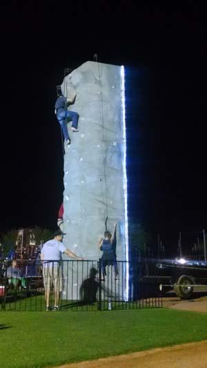 Rock wall with lights