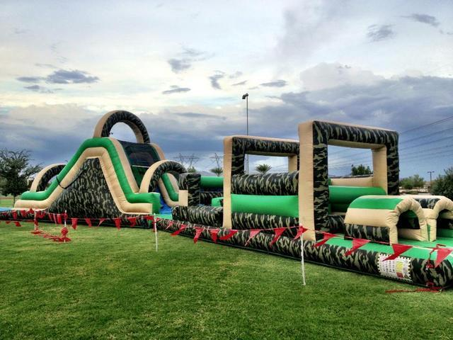 80' Bootcamp Obstacle Course with WET Slide