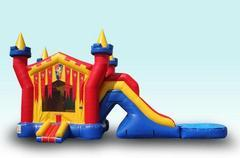 3D Castle Bounce House/Wet Slide Combo with Pool
