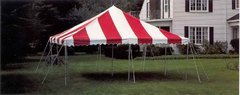 20x20 red and white pole tent