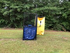 Black and blue dunk tank