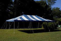 20 x 30 White and Blue Pole Tent