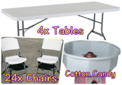 4x Table, 24x Chair, Cotton Candy Package - $99