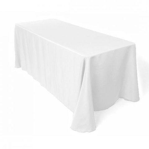 90 X 156 IN. RECTANGULAR POLYESTER TABLECLOTH WHITE