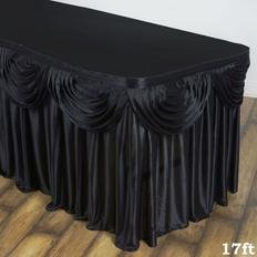 6' Black Satin double drape table squirt