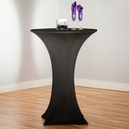 30 IN. ROUND STRETCH COCKTAIL TABLECLOTH BLACK