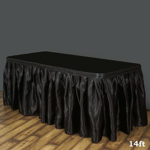 Black Satin Table Skirt 17 Ft.