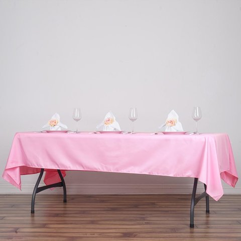 Pink Polyester Rectangular Tablecloth 60x102