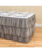 17 ft. Tiered Organza Table Skirt Silver