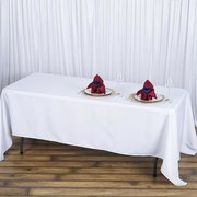 "72x120"" Seamless Premium WHITE  Polyester Tablecloth"