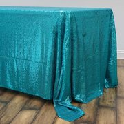 "60x126"" Premium SEQUIN Tablecloth For Banquet Wedding Party - Turquoise"