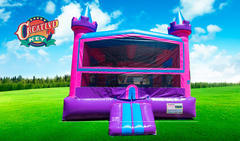 Castle Bounce House Pink with basketball hoop