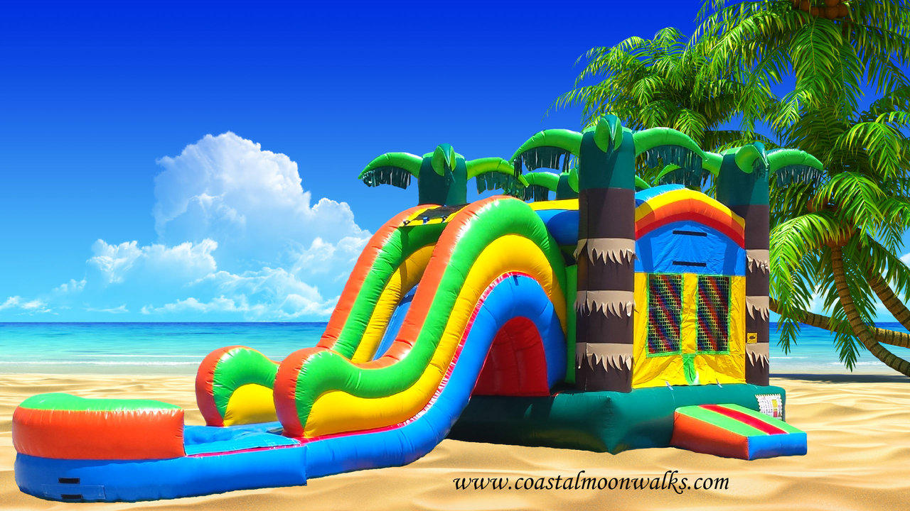 tropical theme water slide combo