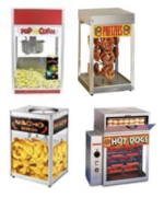 Popcorn, Pretzel Nacho and Hot Dog Machines