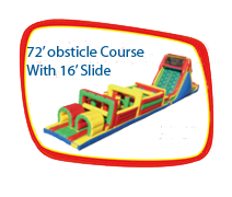 72' Obstacle Course with 16' Slide