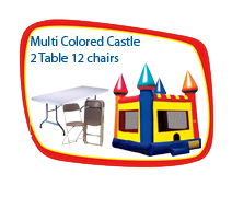 15x15 Multi-colored Castle, 2 Tables and 12 chairs