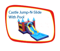 Multi-colored Castle Jump and Slide with Pool
