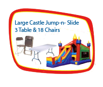 Large Castle Jump and Slide, 3 Tables and 18 Chairs