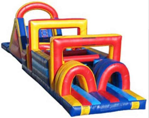Obstacle Challenge With Slide and Pool