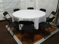 Round Table & 8 Black Chairs