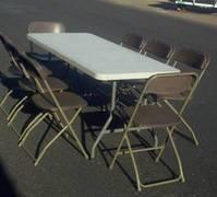 Banquet Table & 8 Gray Chairs