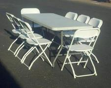 Banquet Table & 8 White Chairs