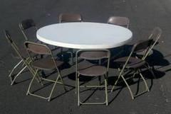 Round Table & 8 Gray Chairs
