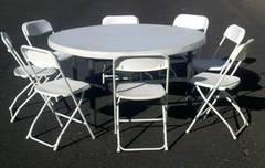 Round Table & 8 White Chairs