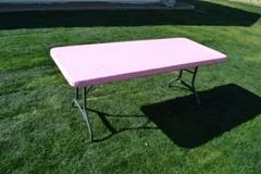 Kwik Table Covers- 6ft Pink.