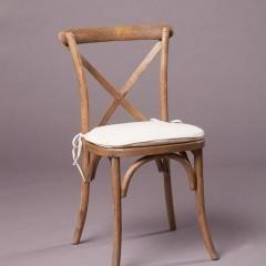 Wood Cross Back Chair, w/ Oatmeal Cushion