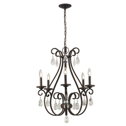 Marimay Dark Bronze Vintage Crystal Candle Chandelier