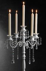 White Candelabra with Hanging Crystals