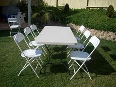 Table and 8 Plastic Chair set
