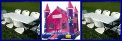Princess Jumpy House, 2 tables and 16 chairs