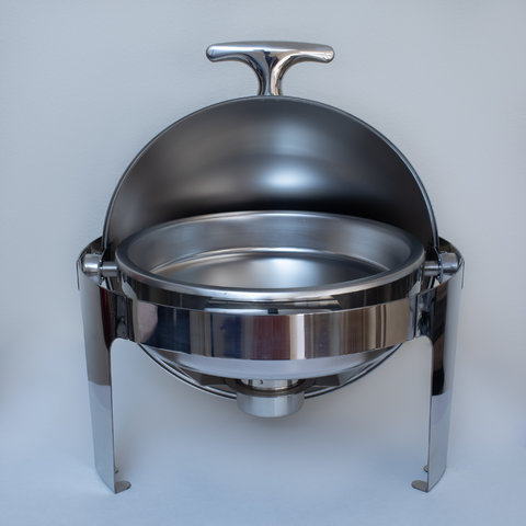 Round Roll Top Chafing Dish, mirrored staineless, 6 qt.