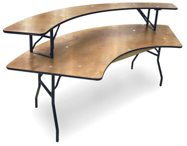 60 in. Serpentine Table with Shelf