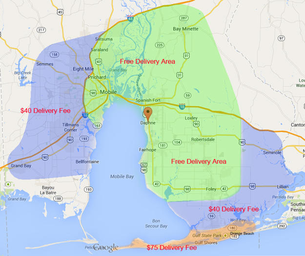 Eastern Shore Inflatables Delivery Area Map