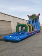 24 Foot Double Lane Twin Falls Water Slide with 30 Foot Slip-n-Slide